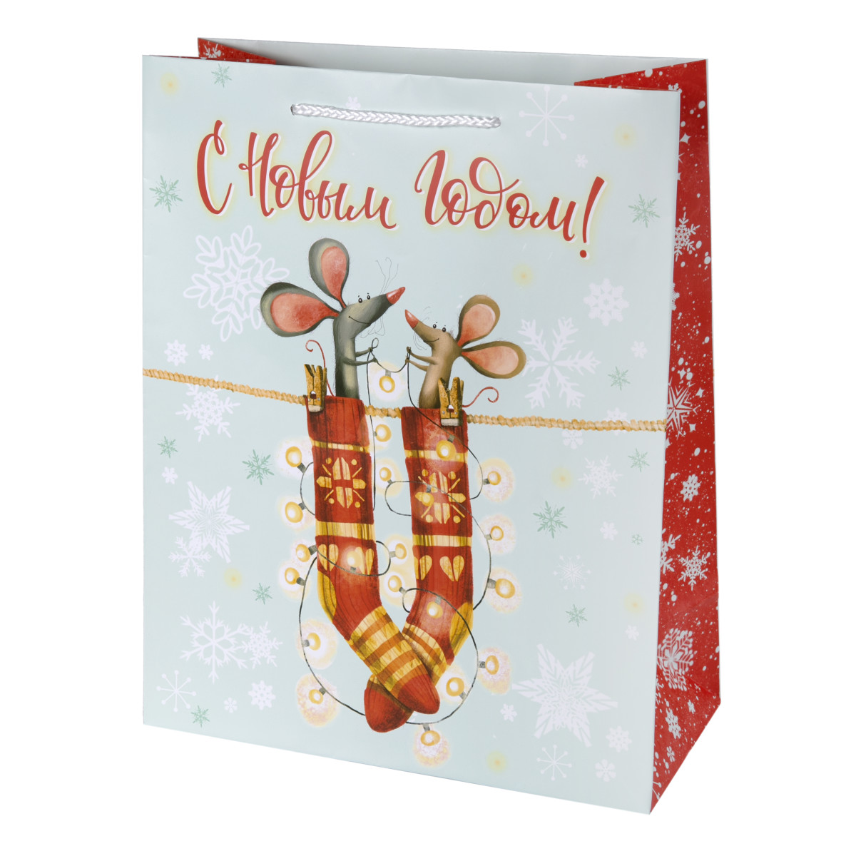 Пакет подарочный Мышки в носках 26x32 см