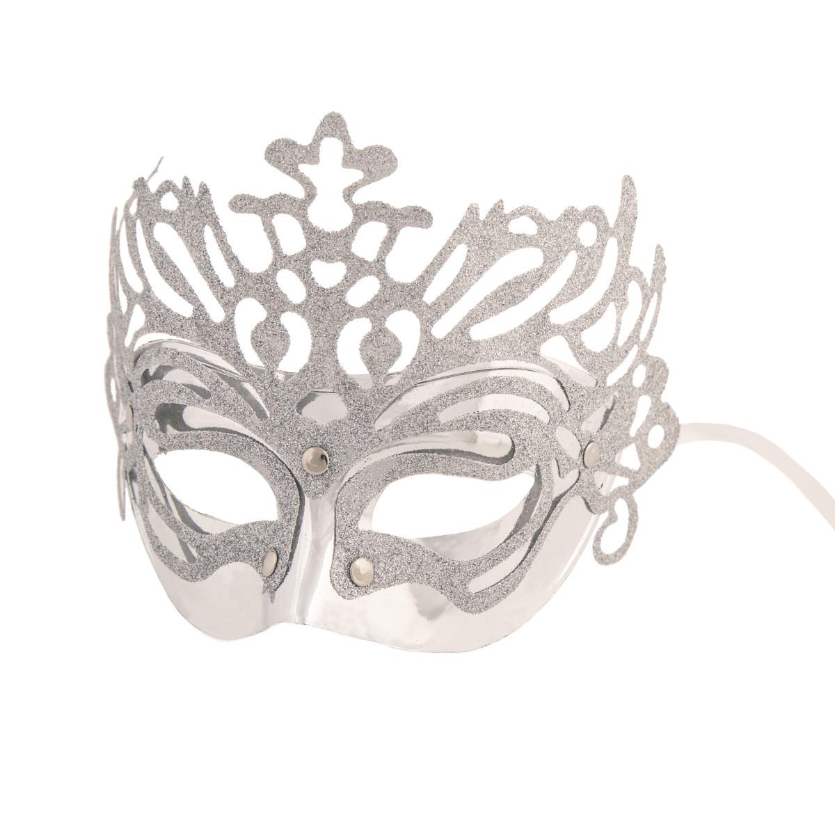 Маска маскарадная Королева цвет серебряный
