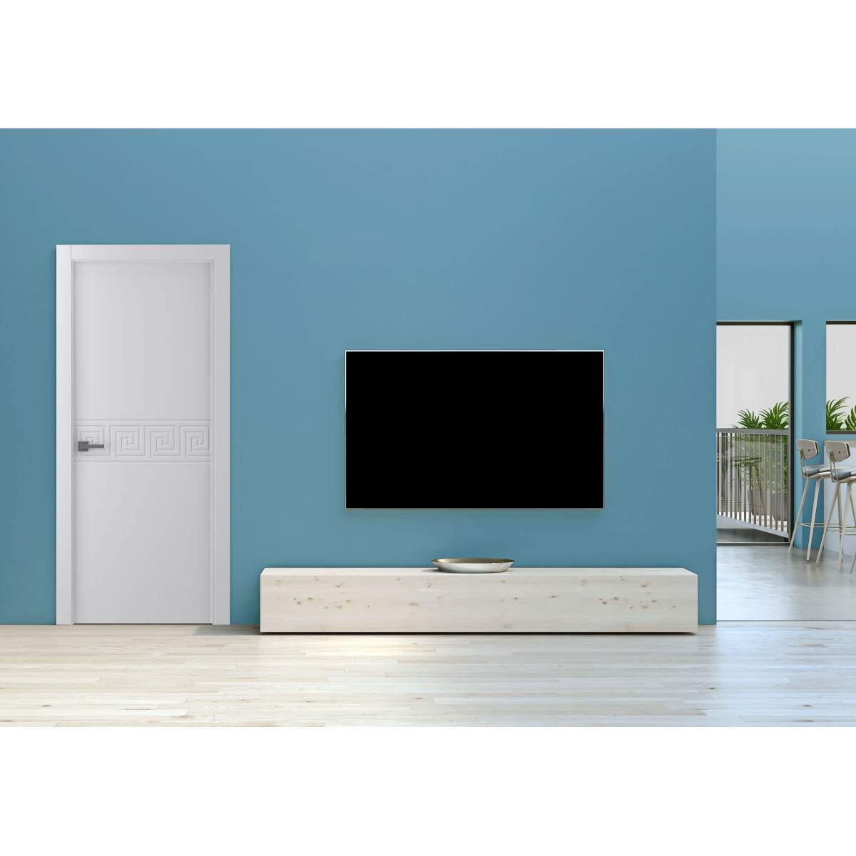 Дверь Межкомнатная Глухая С Замком В Комплекте Афина 80x200 Экошпон Цвет Белый