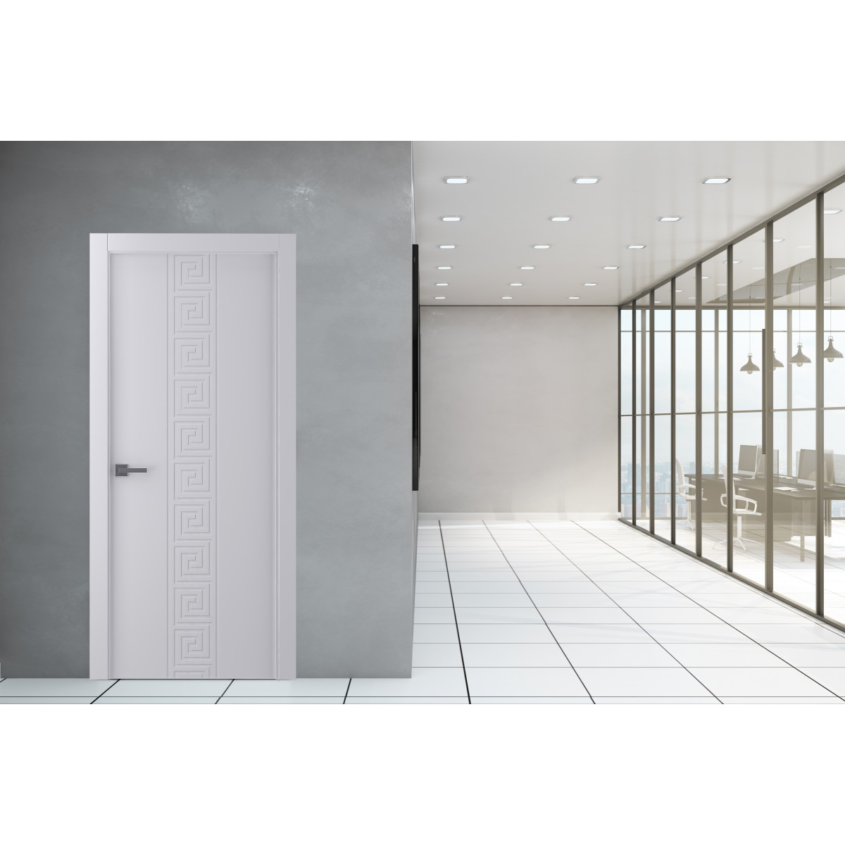 Дверь Межкомнатная Глухая С Замком В Комплекте Эллада 90x200 Экошпон Цвет Белый