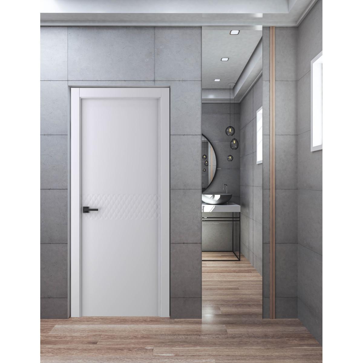 Дверь Межкомнатная Глухая С Замком В Комплекте Аттика 60x200 Экошпон Цвет Белый