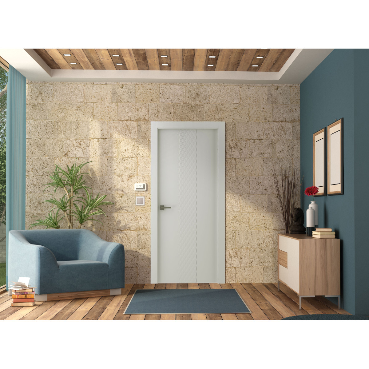 Дверь Межкомнатная Глухая С Замком В Комплекте Халика 90x200 Экошпон Цвет Белый