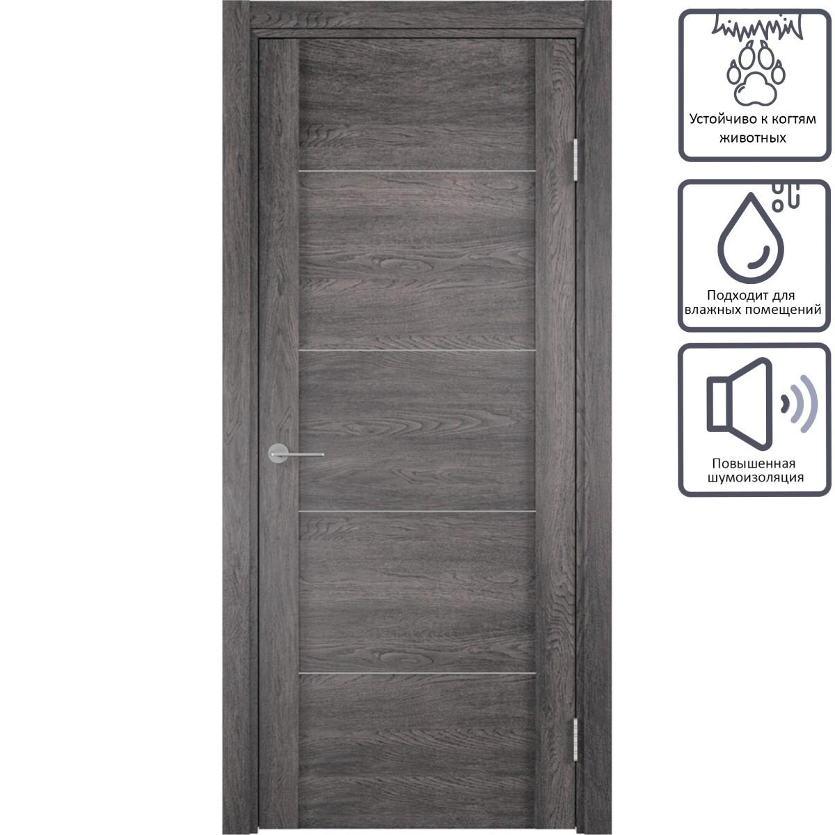 Дверь межкомнатная глухая с замком в комплекте Квадро 200x70 см ПВХ цвет шале серый