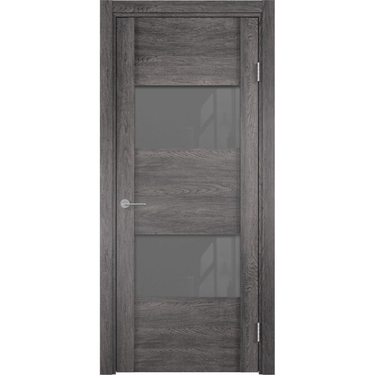 Дверь межкомнатная остеклённая с замком в комплекте Квадро 80x200 см ПВХ цвет серый