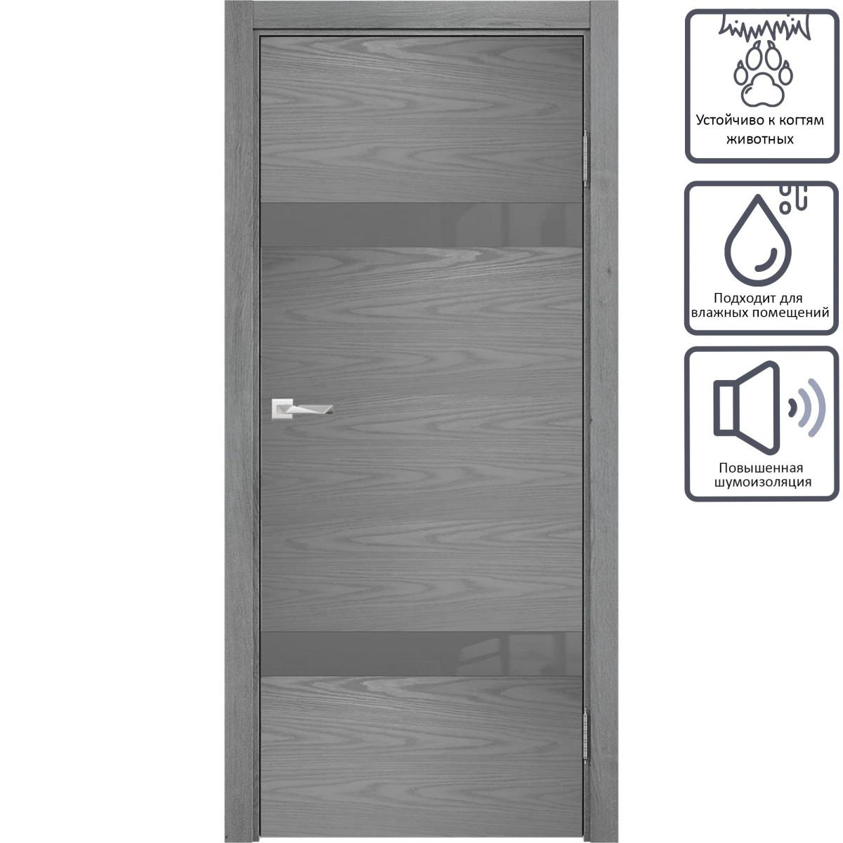 Дверь межкомнатная остеклённая с замком в комплекте Триумф 200x80 см ПВХ цвет серый
