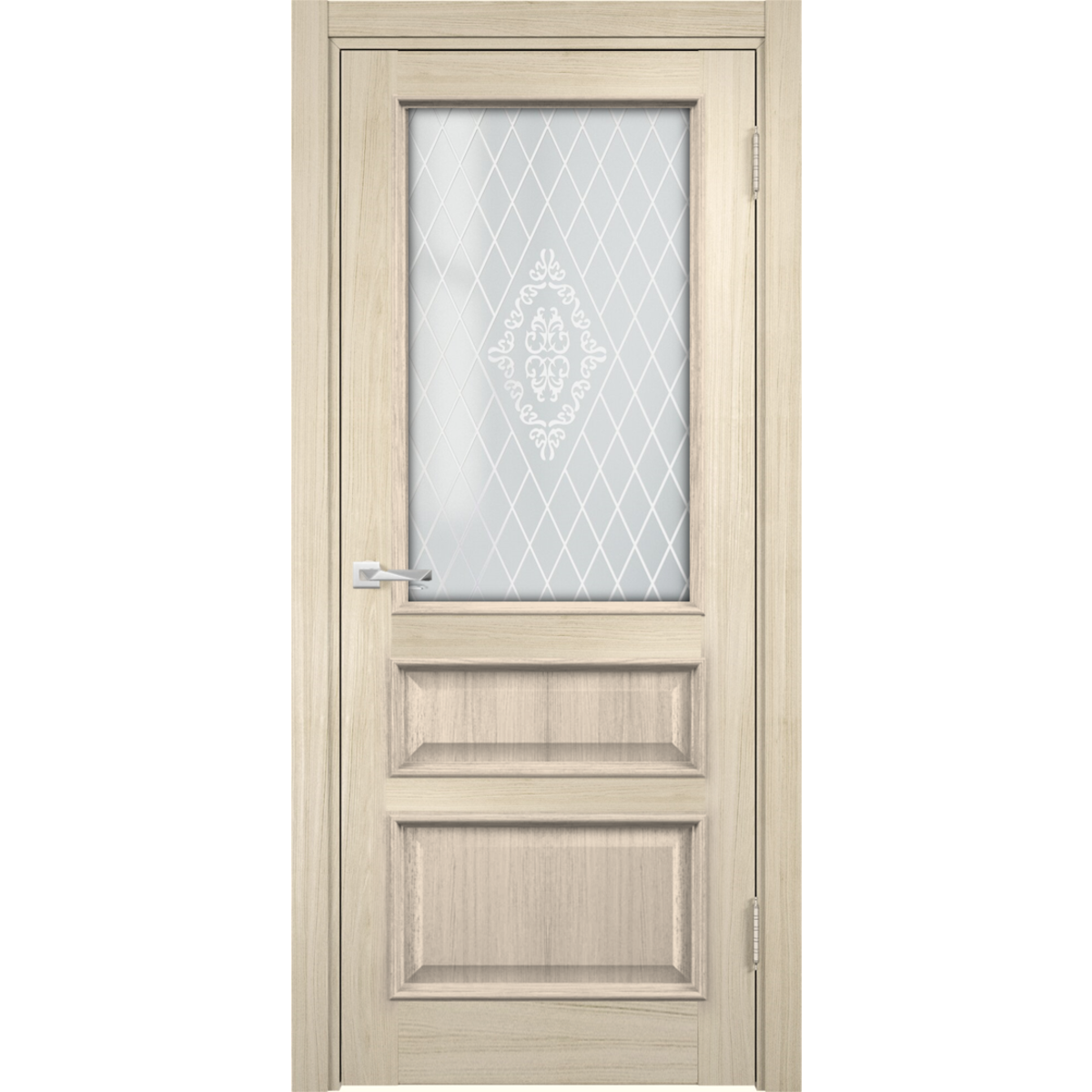 Дверь межкомнатная остеклённая с замком в комплекте Барселона 200x60 см ПВХ цвет дымчатый дуб
