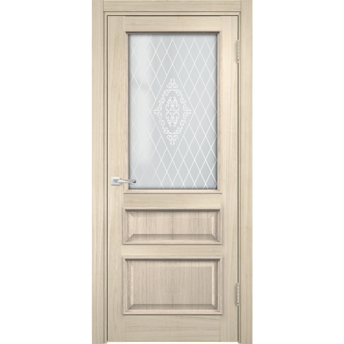 Дверь межкомнатная остеклённая с замком в комплекте Барселона 200x70 см ПВХ цвет дымчатый дуб