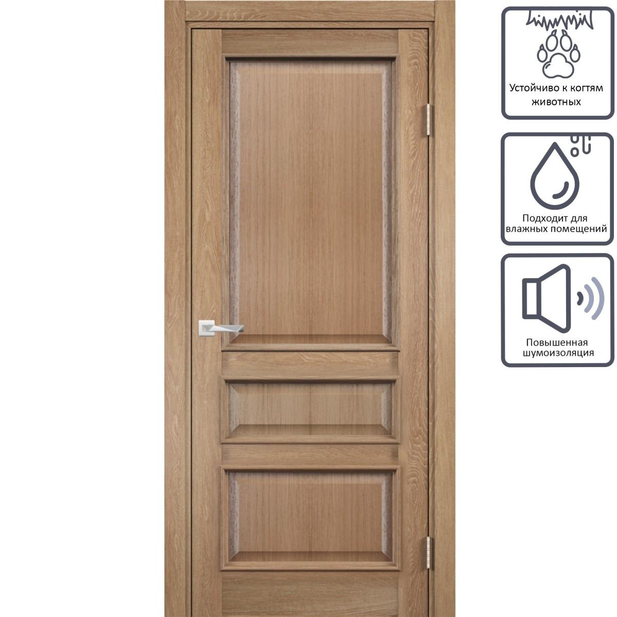 Дверь межкомнатная глухая с замком в комплекте Барселона 200x80 см ПВХ цвет орех