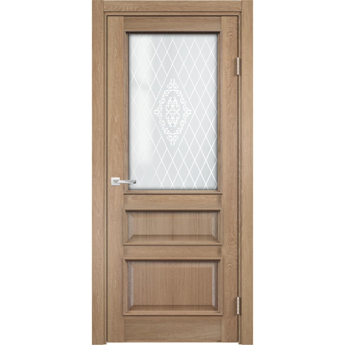 Дверь межкомнатная остеклённая с замком в комплекте Барселона 200x60 см ПВХ цвет орех