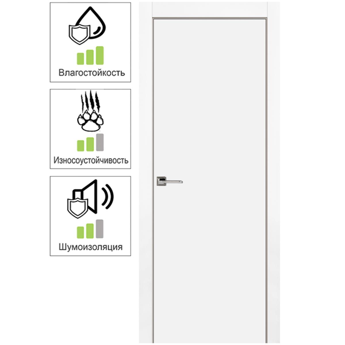 Дверь межкомнатная глухая с замком в комплекте 80x200 см эмаль цвет белый