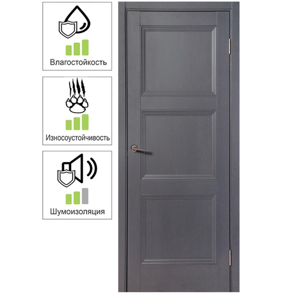 Дверь межкомнатная глухая с замком и петлями в комплекте Трилло 90x200 см  Hardflex цвет грей