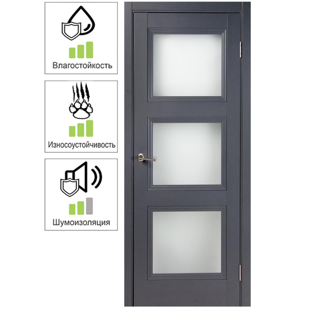 Дверь межкомнатная остеклённая с замком и петлями в комплекте Трилло 70x200 см  Hardflex цвет грей