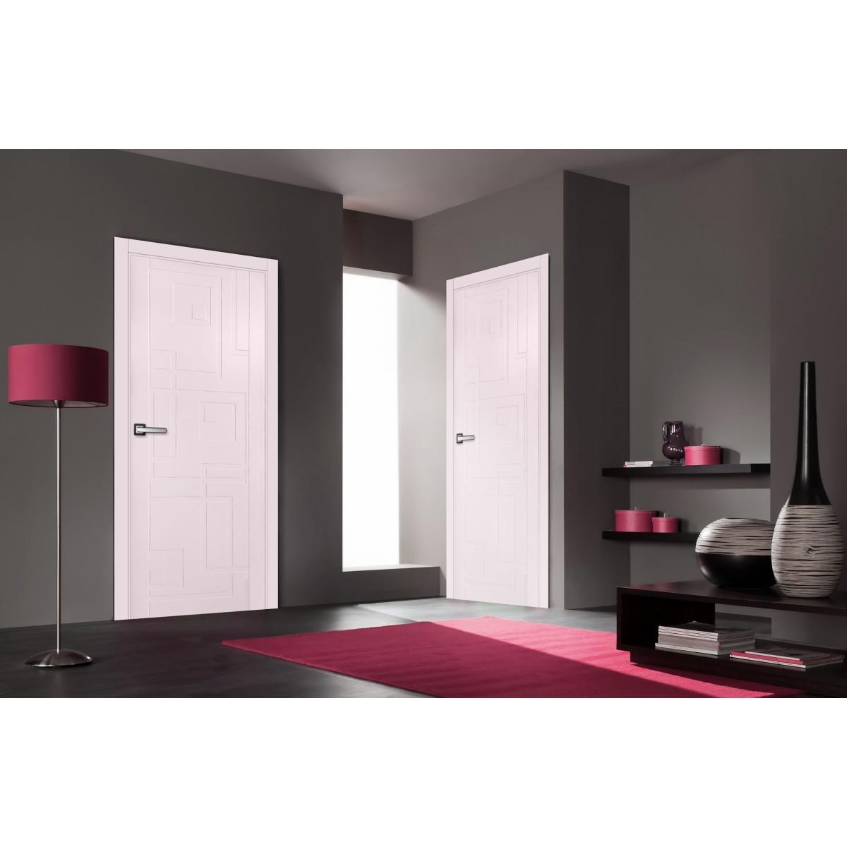 Дверь Межкомнатная Глухая Верде 200x80 Эмаль Цвет Розовый С Фурнитурой