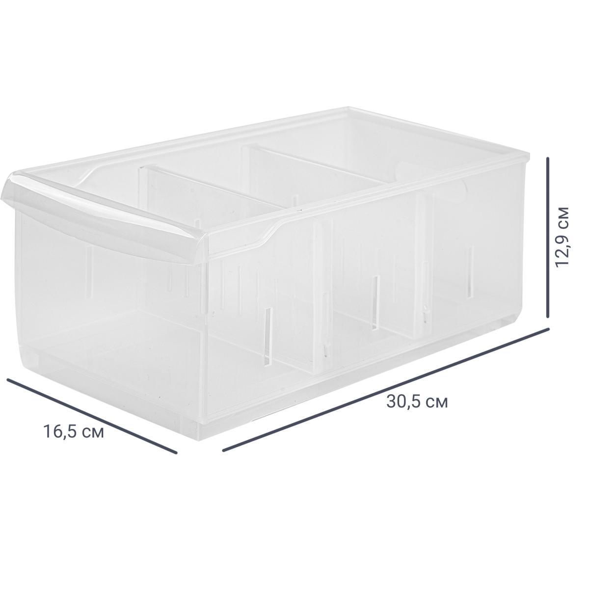 Контейнер Rolly 16.5x30.5x12.9 см 5 л пластик цвет прозрачный