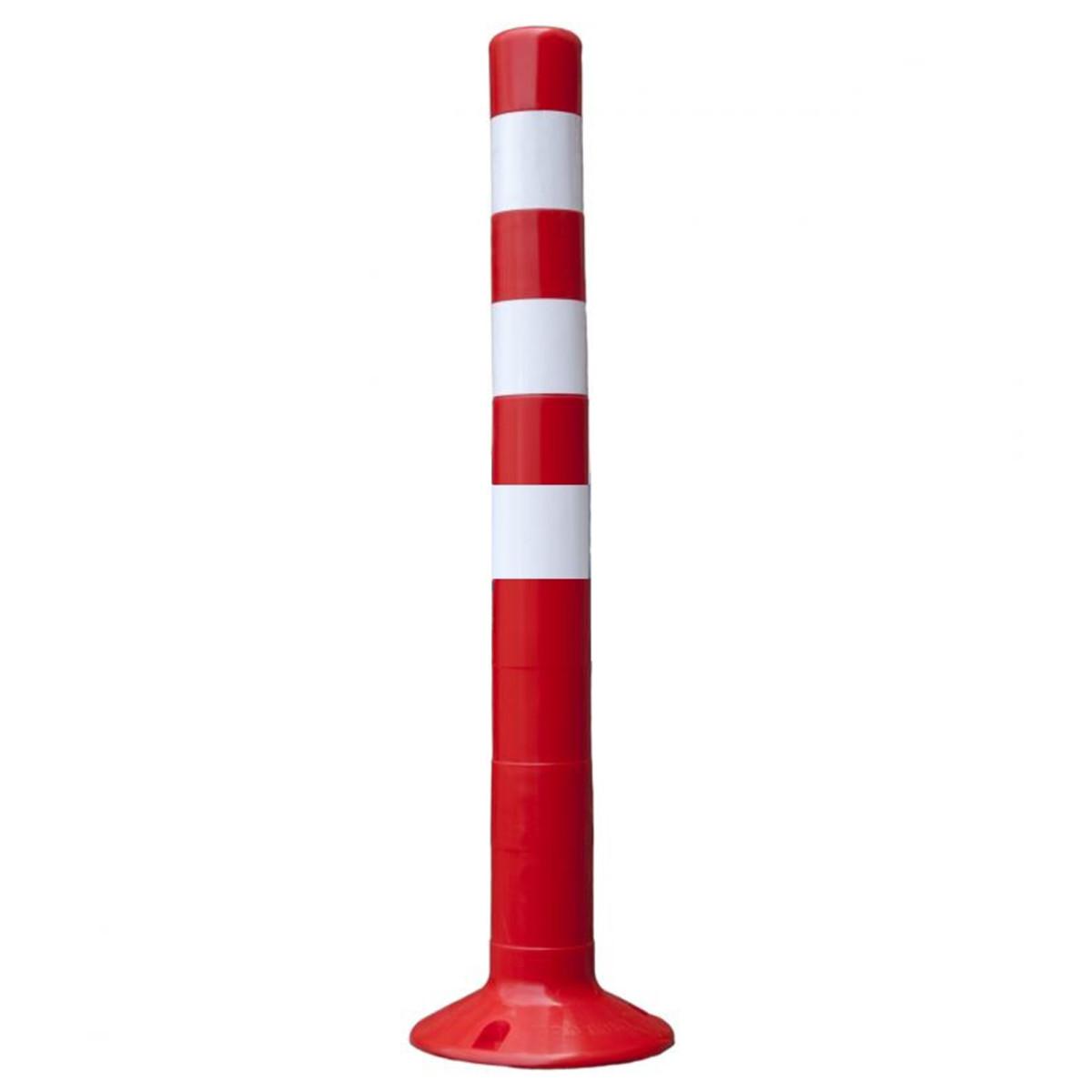 Парковочный столбик твердый 75 см цвет красный/белый