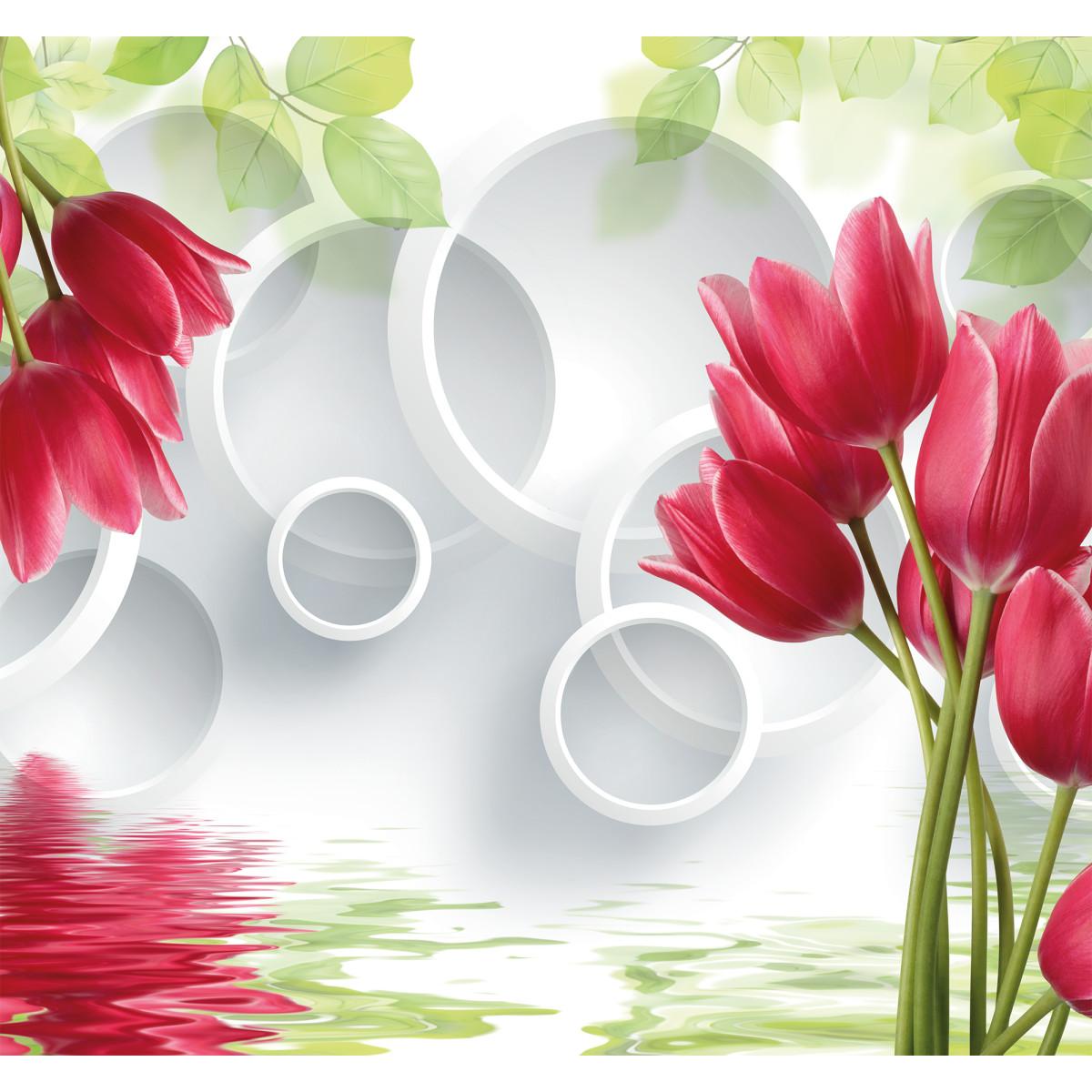 Фотообои 3D Flizart «Красные тюльпаны» флизелиновые 300x280 см