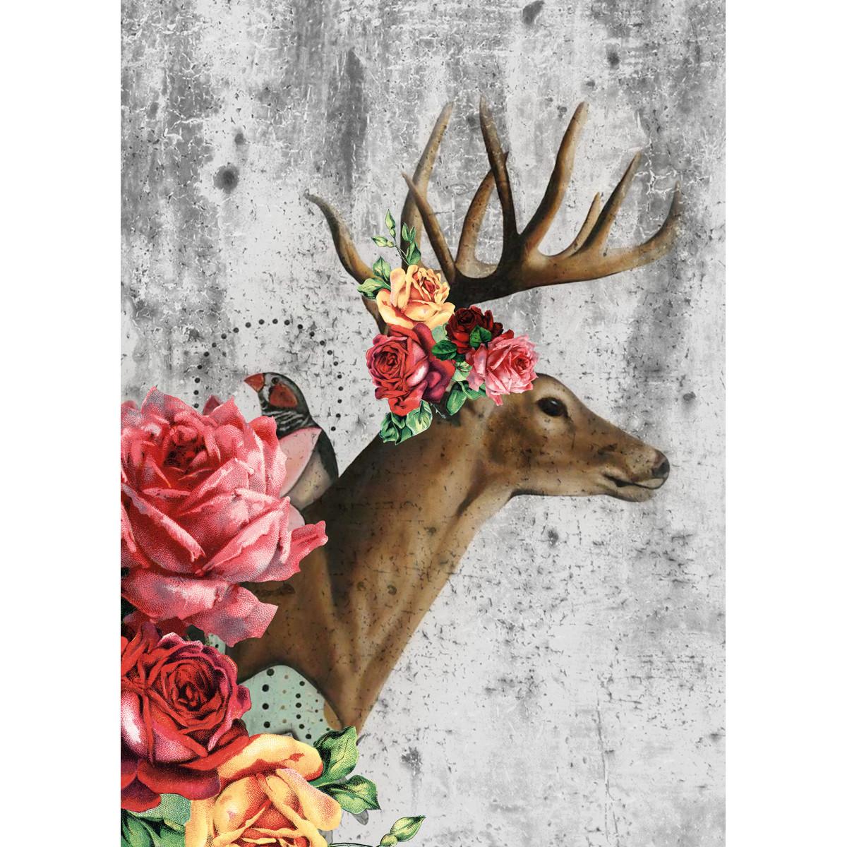 Фотообои 3D Flizart «Олень с розами» флизелиновые 200x280 см