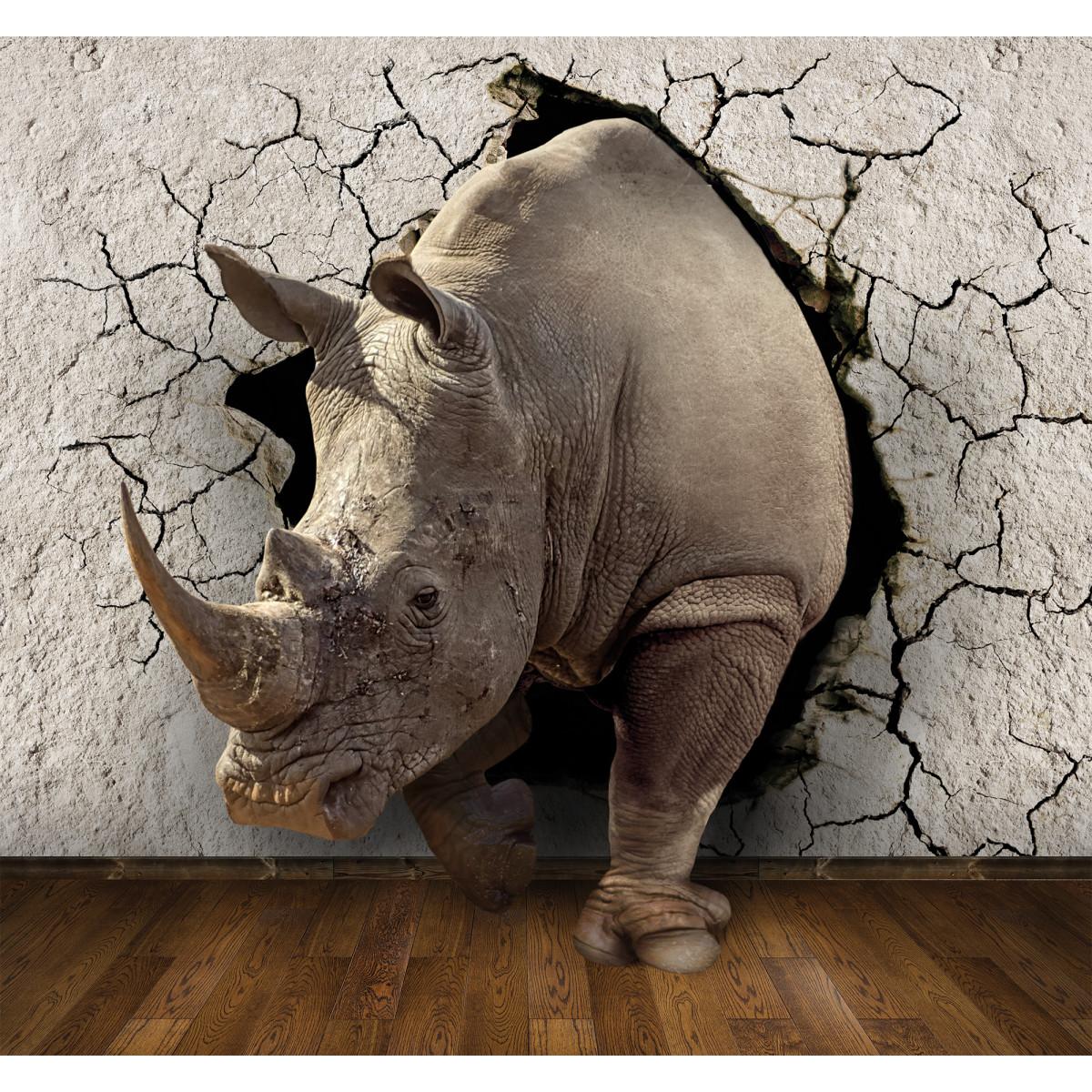 Фотообои 3D Flizart «Носорог» флизелиновые 300x280 см