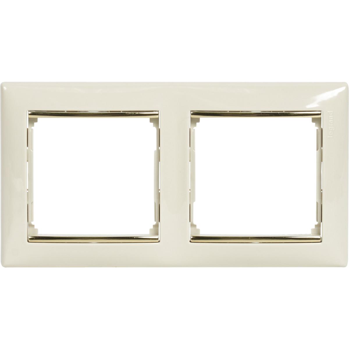 Рамка для розеток и выключателей Legrand Valena 2 поста цвет слоновая кость/золотой шелк
