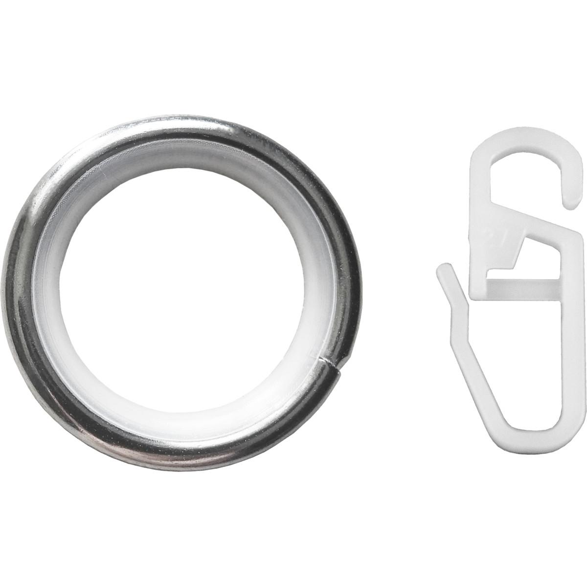 Кольцо с крючком металл цвет хром 2 см 10 шт.
