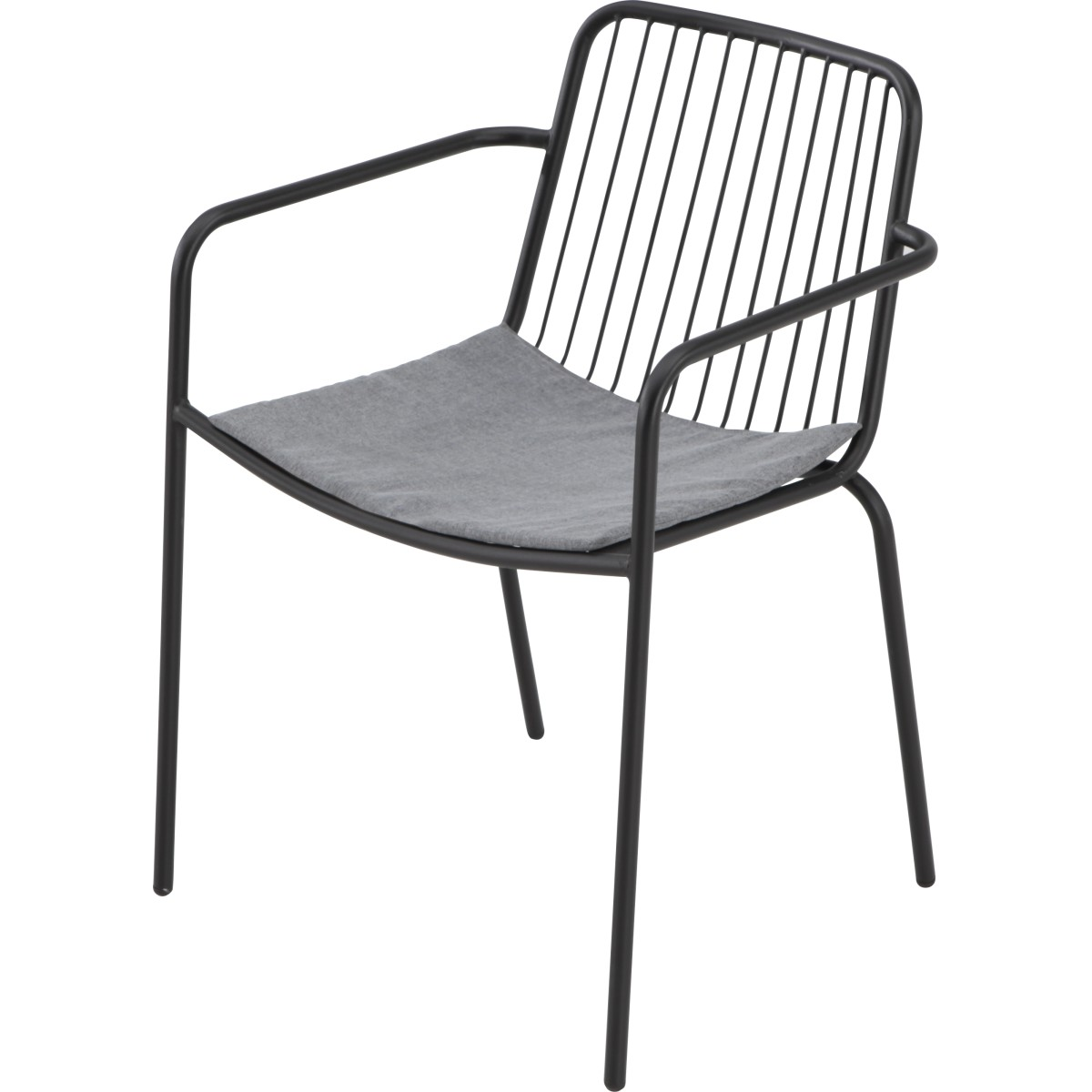 Кресло садовое с подушкой 560x760x540 мм металл цвет черный