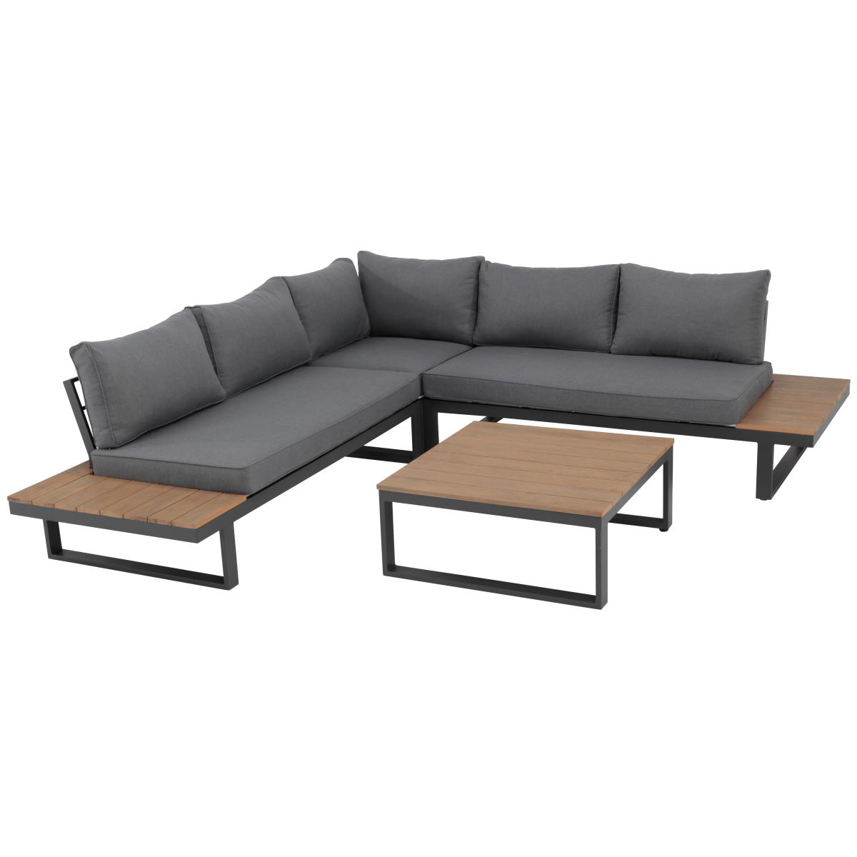 Набор садовой мебели New San Diego угловой металл/эвкалипт угловой диван и журнальный стол
