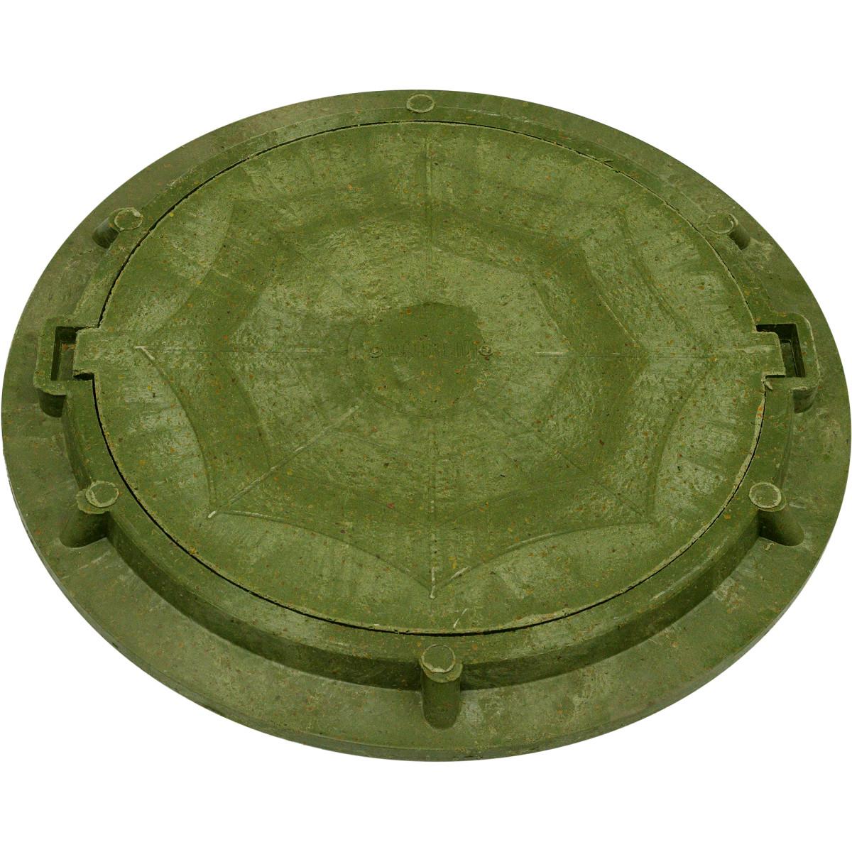 Полимерпесчаный люк колодца А15 Ø750 мм цвет зелёный