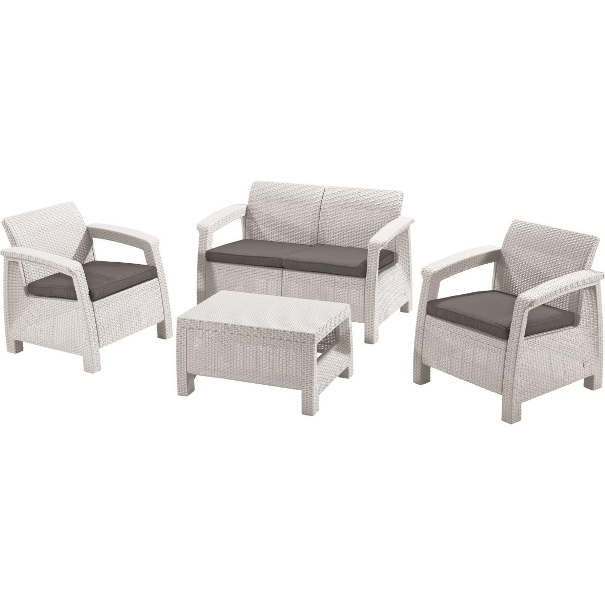 Набор садовой мебели Keter Corfu set полиротанг белый стол диван и 2 кресла