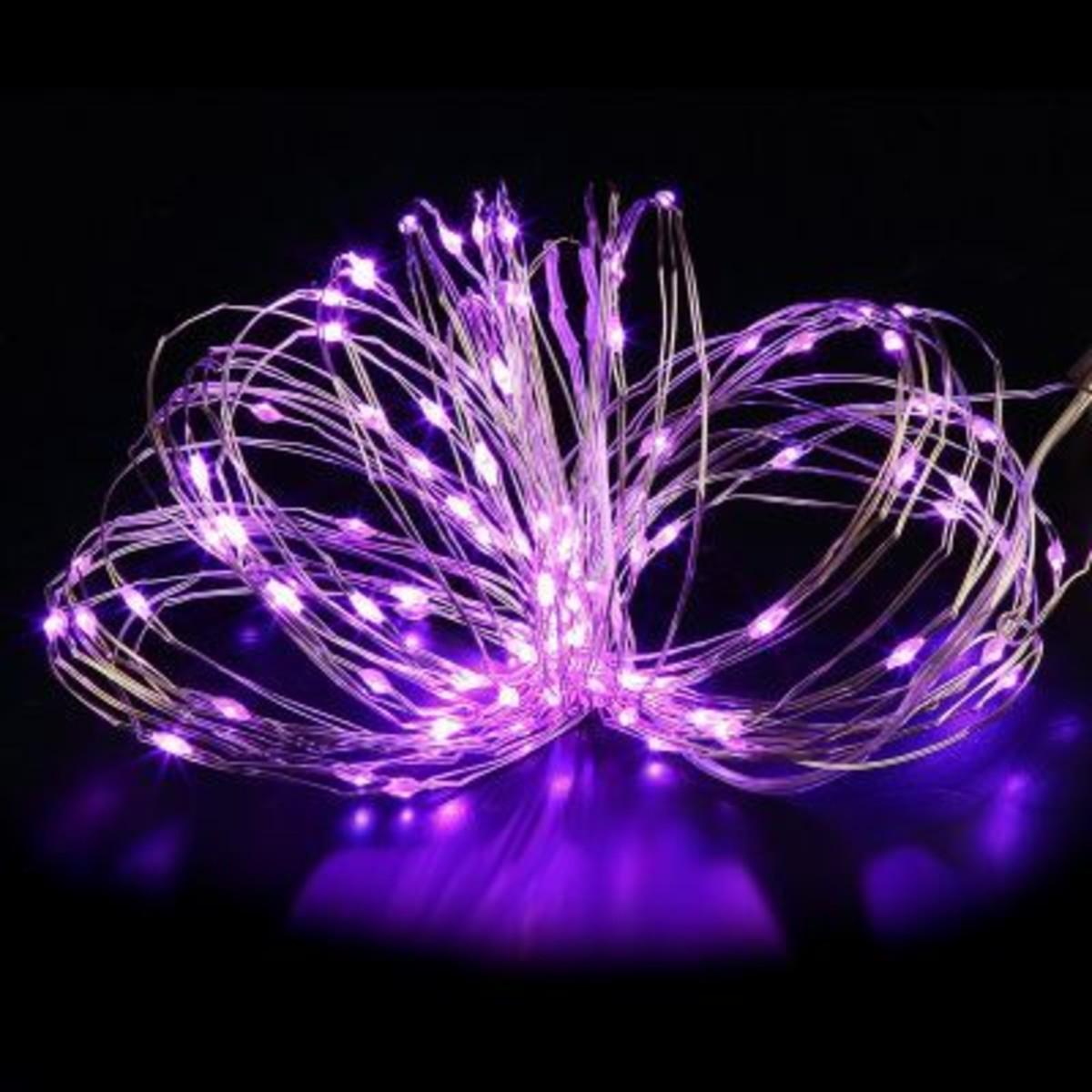 Электрогирлянда комнатная «Роса» 5 м 50 LED фиолетовый на батарейках