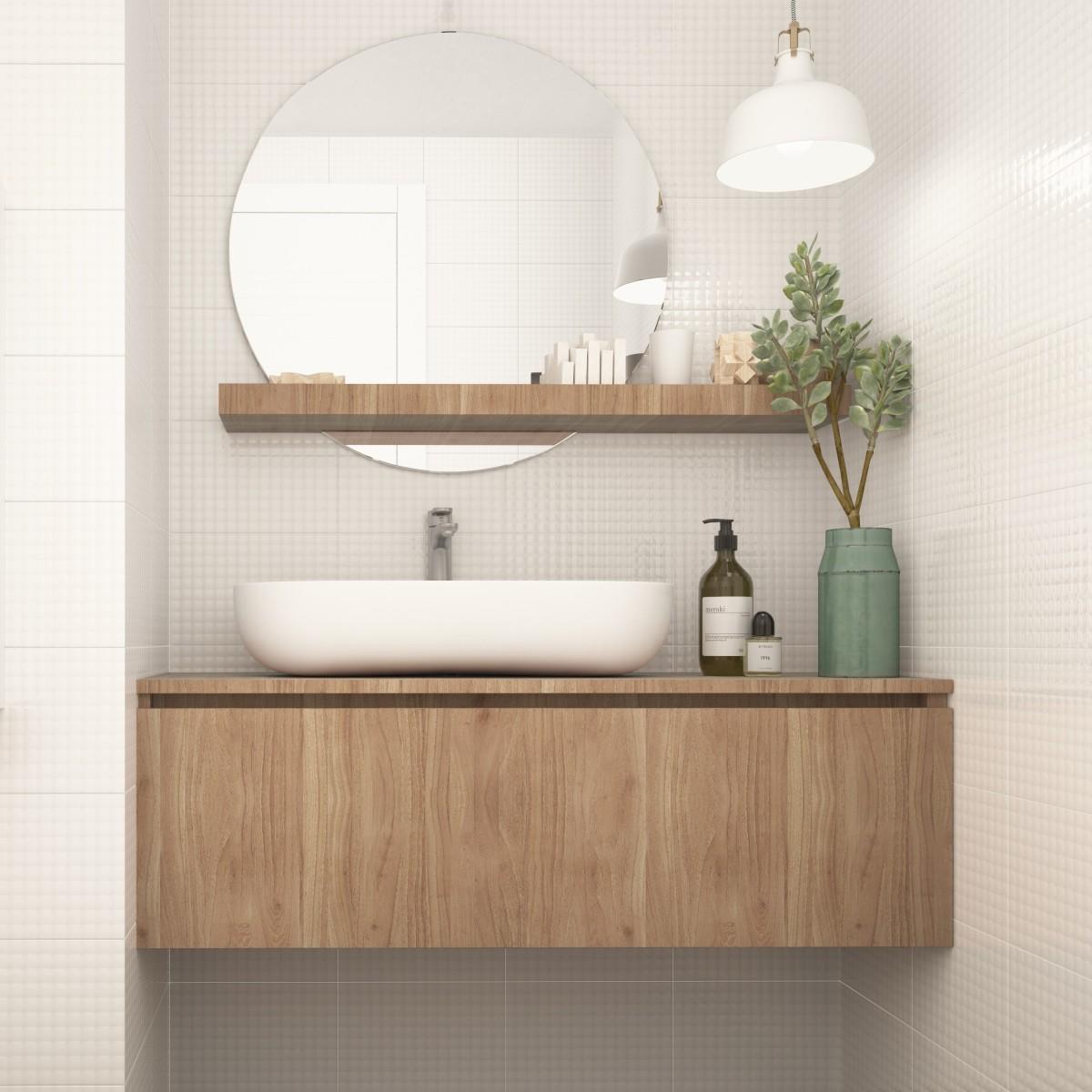 Плитка настенная Структура 3D 20x30 см 1.44 м² цвет белый матовый