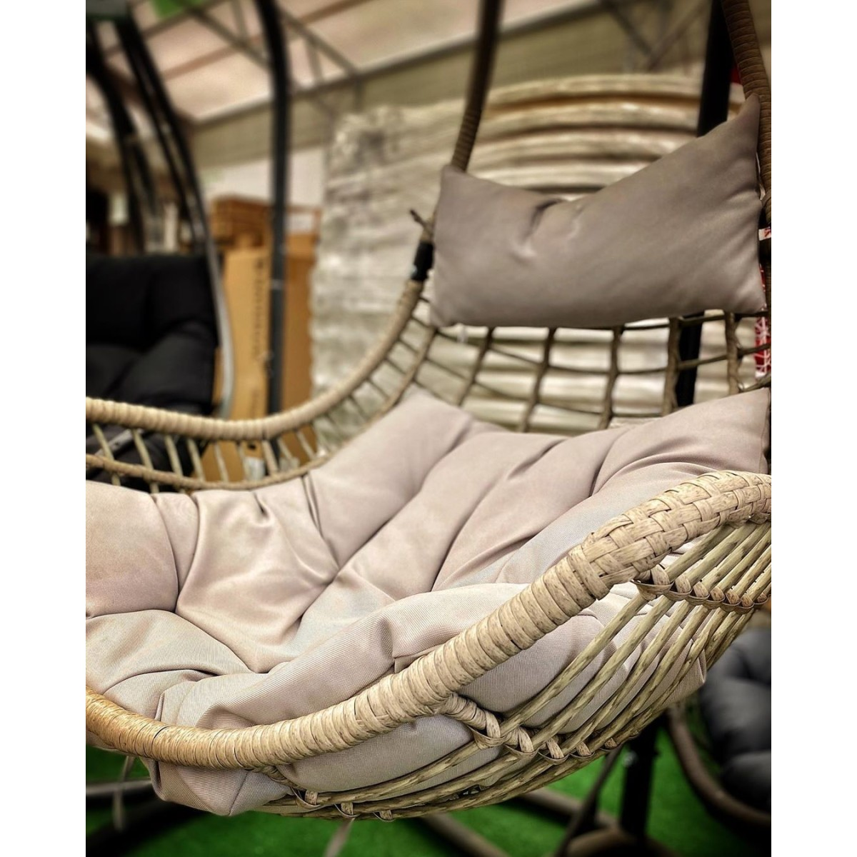 Кресло Подвесное 95Х95Х196 Сталь/ Полиротанг Белый С Опорой