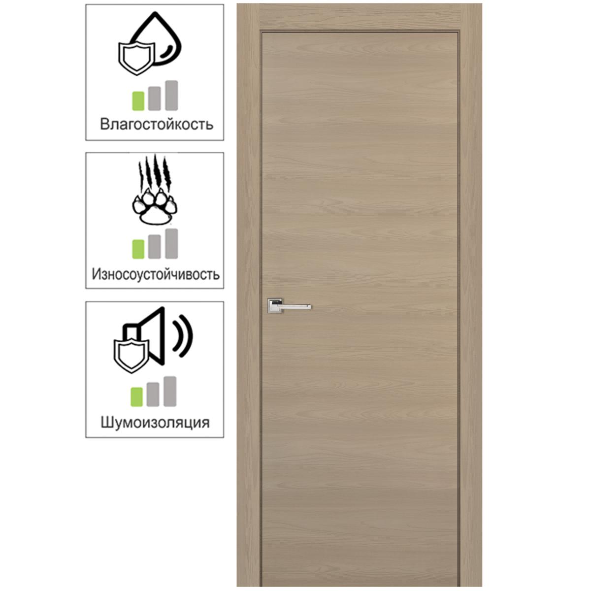 Дверь межкомнатная глухая 70x200 см ламинация цвет ясень коричневый
