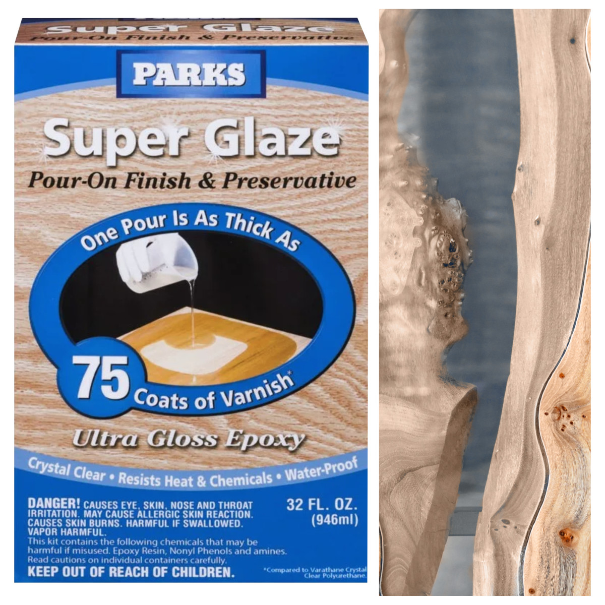 Смола эпоксидная Parks Super Glaze для столешниц