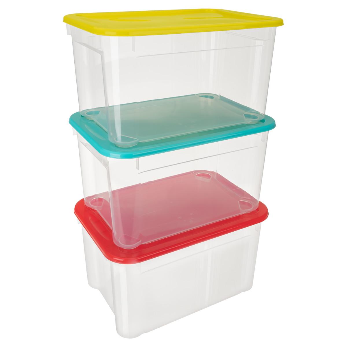 Комплект ящиков для хранения 39х27.5х21.5 см полипропилен цвет прозрачный 3шт