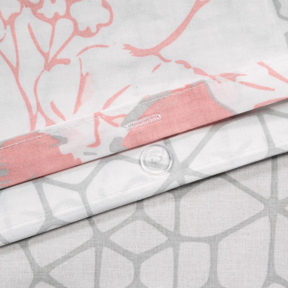 Комплект Постельного Белья Паутинка Двуспальный Поплин Цвет Розовый/Серый