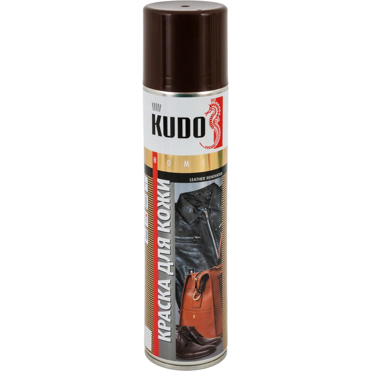 Краска аэрозольная Kudo для гладкой кожи цвет коричневый 0.4 л