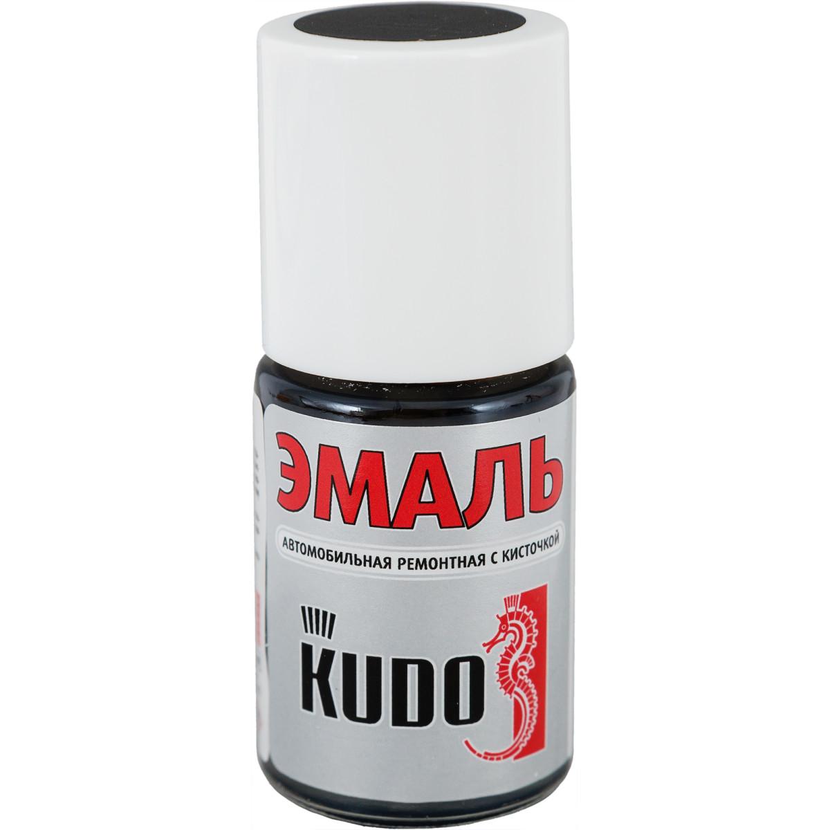 Эмаль автомобильная Kudo с кисточкой цвет 1К чёрный матовый 15 мл