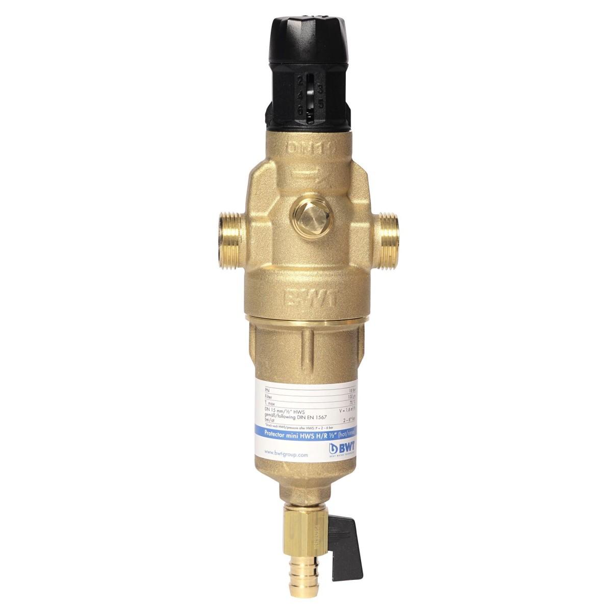 Фильтр механической очистки Барьер BWT Protector Mini 3/4&#34 c редуктором давления для горячей воды 100 мкм