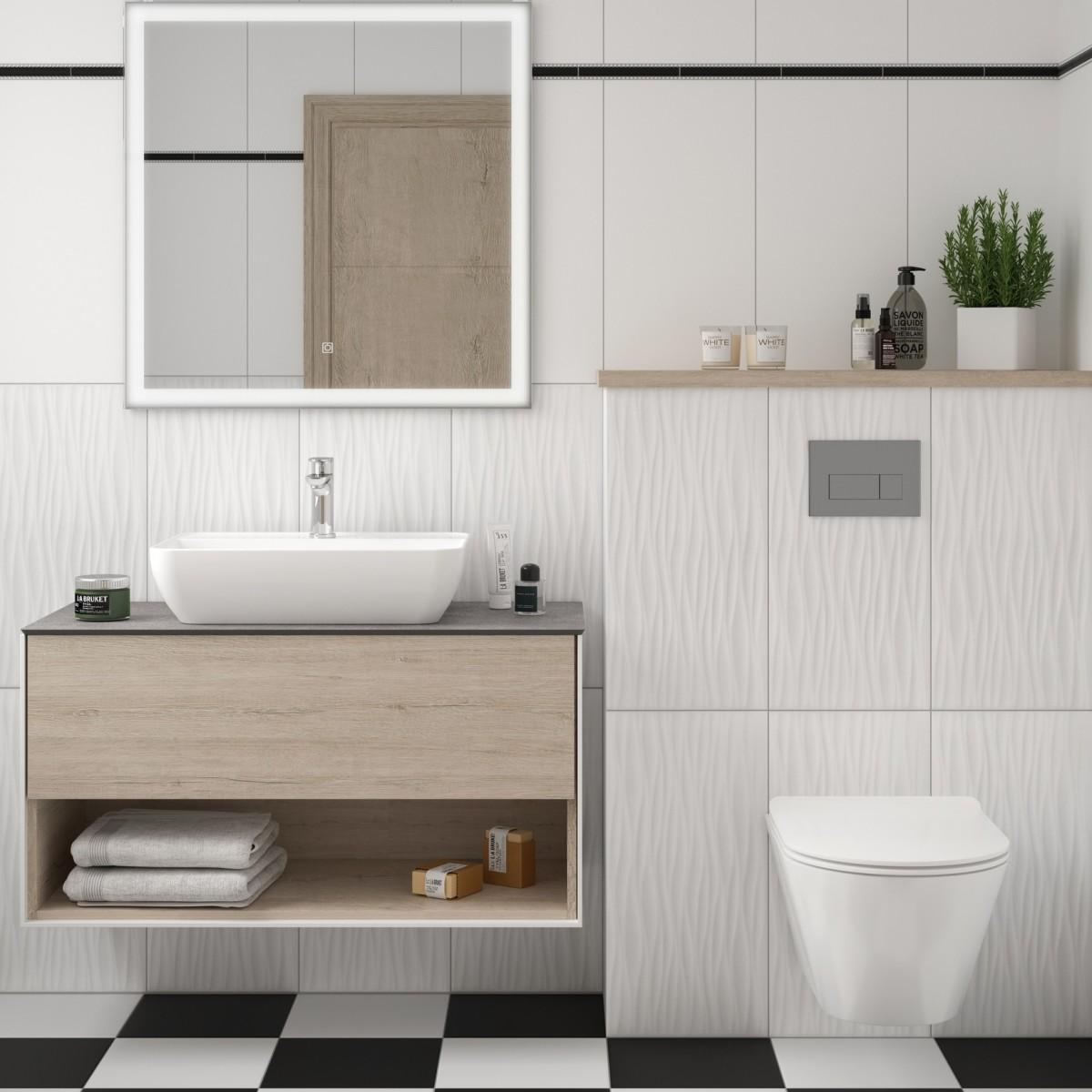 Плитка настенная Фрост 3D 29.5х59.5 см 1.08 м² цвет белый матовый