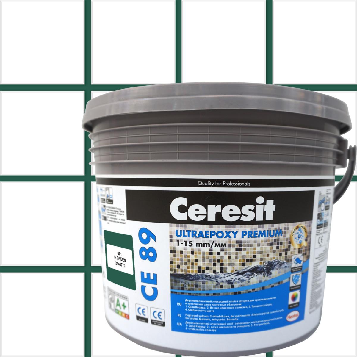 Затирка эпоксидная Ceresit CE89 цвет зеленый изумруд 2.5 кг
