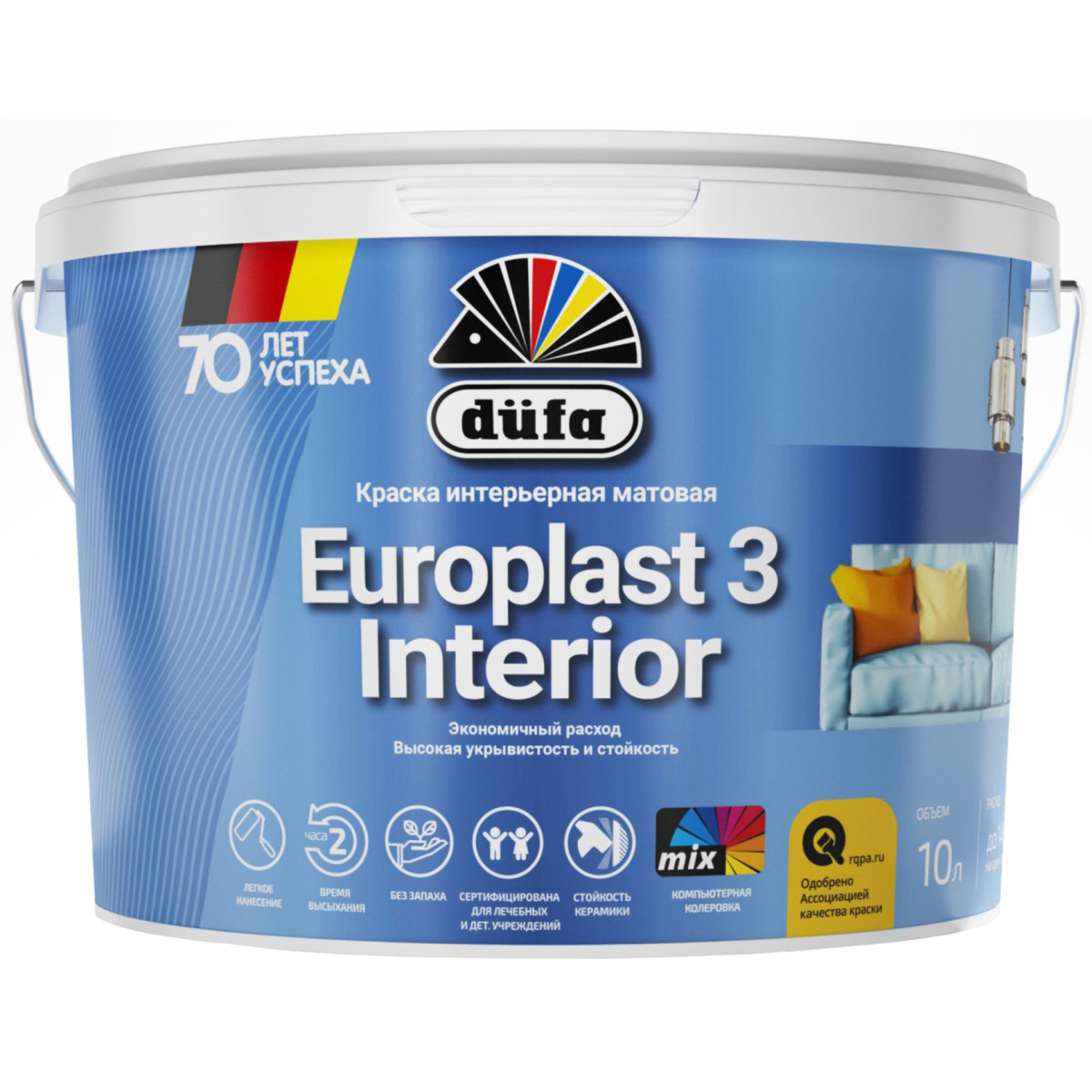 Краска интерьерная Dufa Europlast 3 цвет матовый белый 10 л