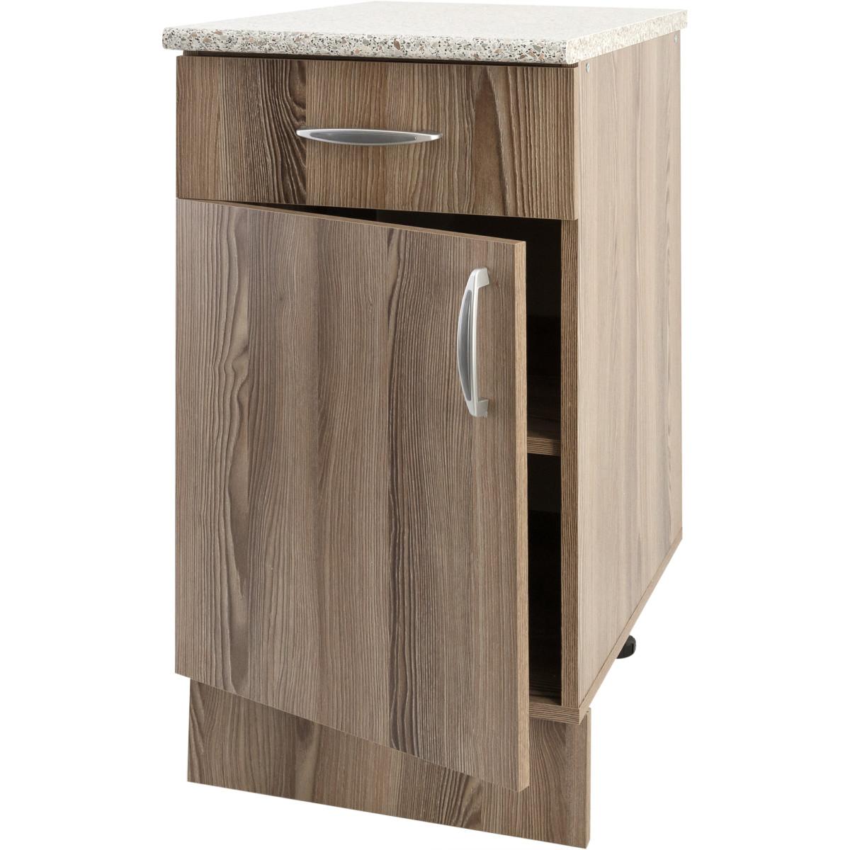 Шкаф напольный Delinia Дуб Шато Аква 40x85х60 см ЛДСП цвет коричневый