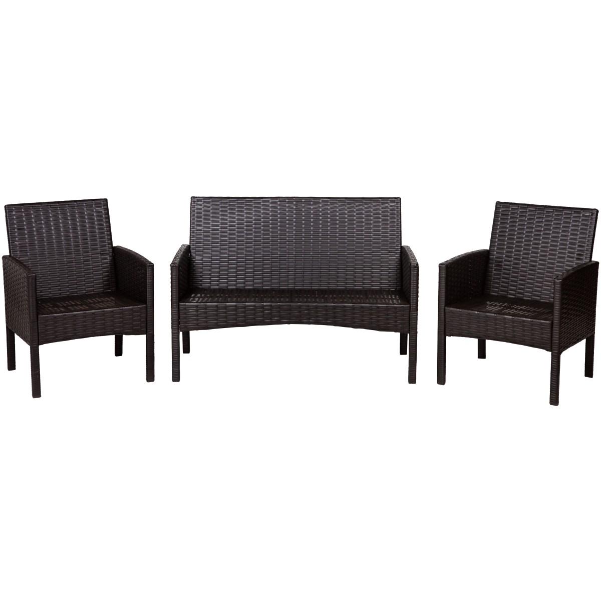 Набор садовой мебели Кения Лайт полиротанг коричневый диван и 2 кресла