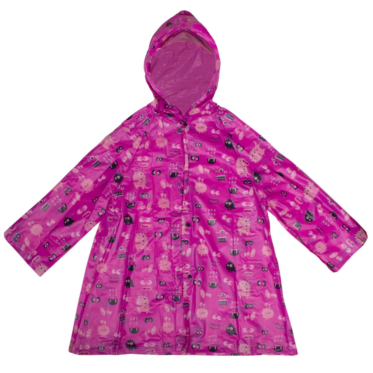 Плащ-дождевик детский размер S цвет розовый с рисунком