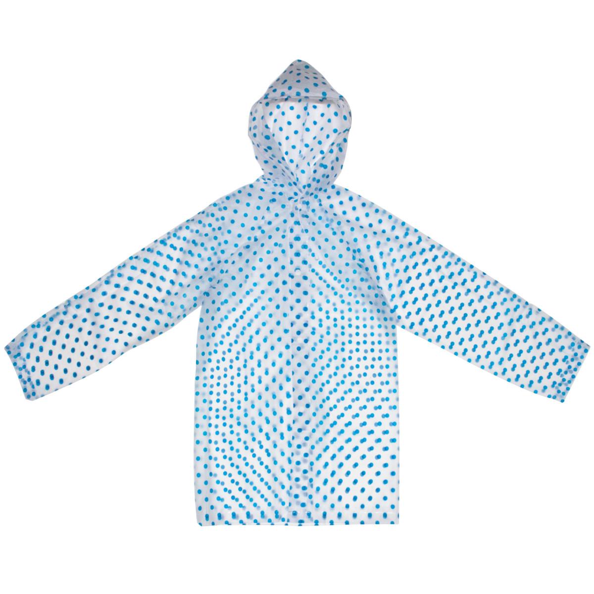 Плащ-дождевик детский размер S цвет синий горох