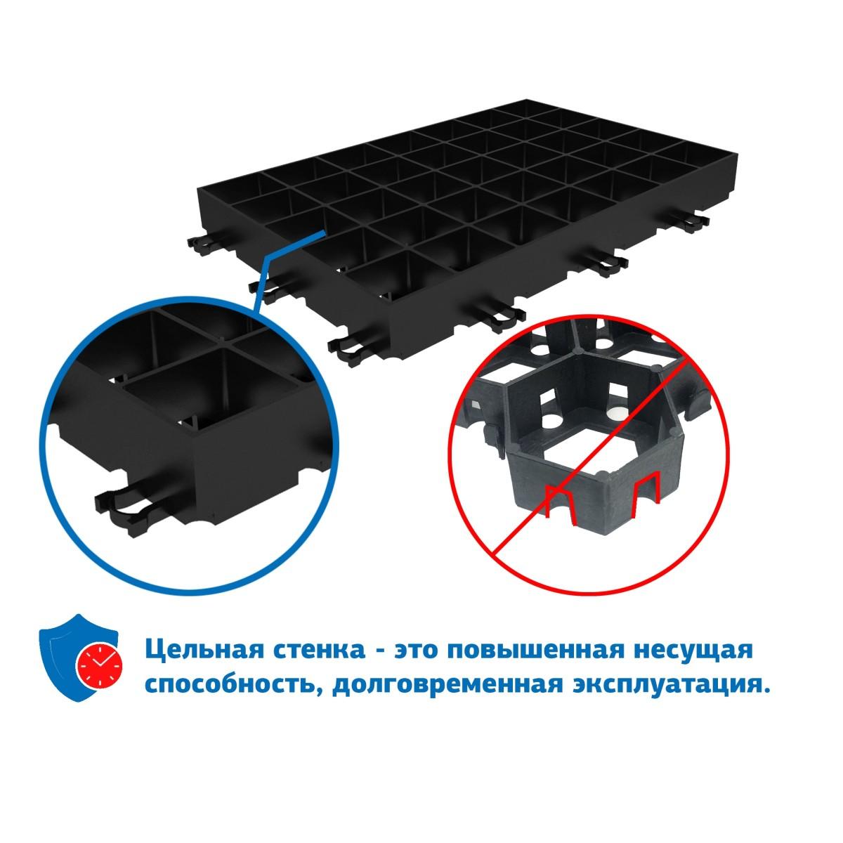 Решетка газонная Gidrolica Eco Super 60x40x6.4 см D400 цвет черный
