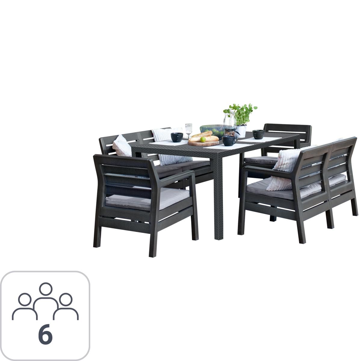 Набор садовой мебели Keter Delano пластик графит 2 софы 2 кресла 1 стол