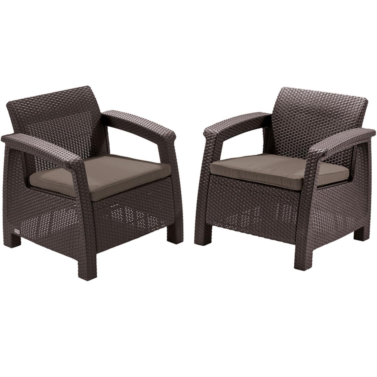 Набор садовой мебели Keter Corfu Duo Set полиротанг коричневый 2 кресла
