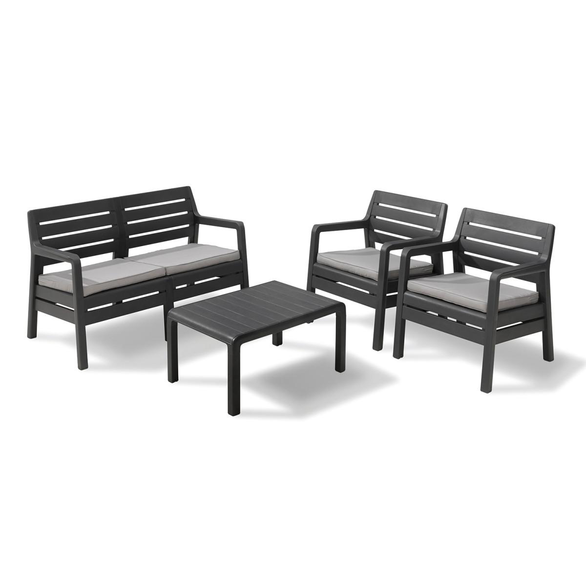 Набор садовой мебели Keter Delano пластик графит стол диван и 2 кресла