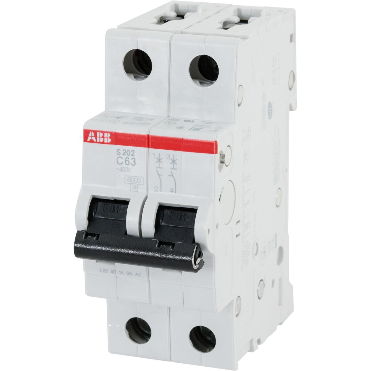 Выключатель автоматический ABB S202 2 полюса 63 А C